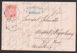 LINDAU Bayern Faltbrief 2.2.1875 Mit 3 Kr. Gez. Nach Mittel-Meyerburg Post Hard Voralberg - Beieren