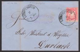 LUDWIGSHAFEN Bayern Faltbrief 25.10.1872 Mit 3 Kr. Gez. Nach Durlach - Beieren