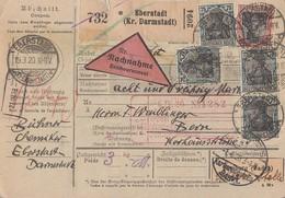 DR NN-Paketkarte Mif Minr.90II,16x 104 Eberstadt 19.3.20 Gel. In Schweiz - Germany