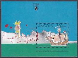 Angola 1992 Geschichte History Entdeckung Discovery Kolumbus Columbus Schiffe Ships Amerika GENOVA, Bl. 14 ** - Angola