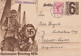 DR GS Minr.P251 Zfr. Minr.379 Köln 7.5.34 Gel. Nach Argentinien - Briefe U. Dokumente