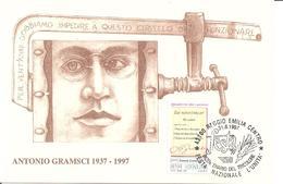 ITALIA - 1997 REGGIO EMILIA Festa Naz. UNITA', Bicentenario Del Tricolore - ANTONIO GRAMSCI Su Cartolina Speciale - Seconda Guerra Mondiale