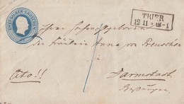 Preussen GS-Umschlag 2 Silbgr. R2 Trier 12.11. Gel. Nach Darmstadt - Preussen
