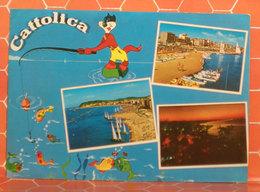 Cattolica Vedute Humor Gatto Che Pesca (Rimini) Cartolina 1982 - Italia