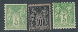 CP-84: FRANCE:  Lot Avec N° 102**-103*-106** - 1898-1900 Sage (Type III)