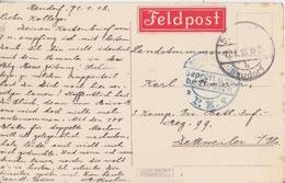 CP Obl Strasbourg (T158 Strassburg Els - B Neudorf) En Franchise Le 12/1/18 Pour Dettwiller + Censure étiquette Feldpost - Marcophilie (Lettres)
