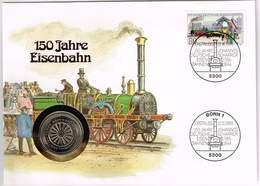 Deutschland 1985, 150 Jahre Eisenbahn, Numisbrief 5 DM  Münzpräge G - [ 7] 1949-… : RFA - Rép. Féd. D'Allemagne
