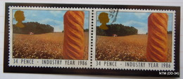 GREAT BRITAIN 1986 Industry Year. 34p - Loaf Of Bread And Cornfield (Agriculture). Block Of 2 Used Stamps. SG 1311 - 1952-.... (Elizabeth II)
