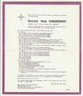 Doodsbrief Flavie VANDERDONCKT Wed. Kamiel De Cubber Maarke-Kerkem 1882 - 1975 (Fam. De Craeye- Roman) - Todesanzeige