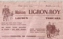 BUVARD MAISON LIGRON ROY ... LOUDUN ... THOUARS ....  VETEMENTS - Buvards, Protège-cahiers Illustrés