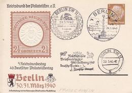 Privatganzsache Reichsbund Der Philatelisten - 46. Deutscher Philatelistentag - 3 Versch. Stempel - 1940 (40013) - Allemagne