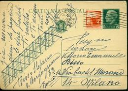 V9134 ITALIA REPUBBLICA 1947 Cartolina Postale 15 C. Vinceremo, Fil. C97, Interitalia 94, Con Affrancatura Aggiuntiva - 6. 1946-.. Repubblica