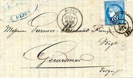 Cachet Du Bureau De Passe 1307 (Dijon) Oblitérant Le Timbre Sur Lettre De Dijon  à Gérardmer; 21/04/1873 - 1871-1875 Cérès