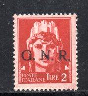 RSI168 - GNR 1944 , 2 Lira Soprastampato **  MNH - 4. 1944-45 Repubblica Sociale