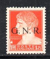 RSI170 - GNR 1944 , 1 E 75 Lira Soprastampato **  MNH - 1944-45 Sociale Republiek