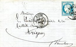 Cachet Du Bureau De Passe 1307 (Dijon) Oblitérant Le Timbre Sur Lettre De Dijon  à Avignon ; 15/03/1873 - 1871-1875 Ceres