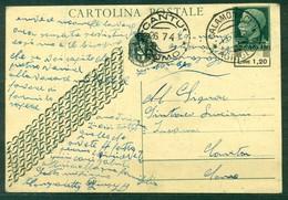 Z556 ITALIA LUOGOTENENZA 1945 Cartolina Postale L.1,20 Su 15 C. (Fil. C116A) Da Calamonaci (AG) 26.7.45 Per Cantù (Como) - 5. 1944-46 Luogotenenza & Umberto II