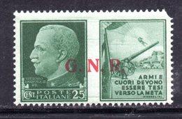 RSI178 - GNR 1944 ,  Propaganda Di Guerra 25 Centesimi Soprastampato  **  MNH : Un Angolo Arrotondato - 4. 1944-45 Repubblica Sociale