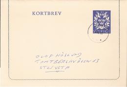 Sweden 1961 Kortbrev, Card Letter  With Imprinted Stamp, Cancelled - Brieven En Documenten