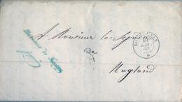 "1853 , FRANCIA , BONNEVILLE - MAGLAND , CARTA COMPLETA EN FRANQUICIA "" L'INTENDANT DU FAUCIGNY "" , LLEGADA AL DORSO - Marcofilia (sobres)"