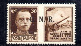 RSI181 - GNR 1944 ,  Propaganda Di Guerra 30 Centesimi Soprastampato  **  MNH - 4. 1944-45 Repubblica Sociale