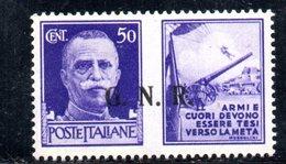 RSI183 - GNR 1944 ,  Propaganda Di Guerra 50 Centesimi Soprastampato  **  MNH - 4. 1944-45 Repubblica Sociale
