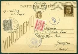 Z1236 ITALIA RSI 1943 Cartolina Postale Vinceremo 30 C. Spedita FERMO POSTA Da Roma 15.10.43 Per Genazzano E Tassata - 4. 1944-45 Repubblica Sociale