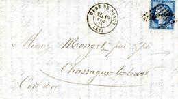 """Lettre De Nancy Pour Chassagne Le Haut. Cachet """"Gare De Nancy"""" Et Cachets Des Bureaux De Passe 1307 Et 2598 - 1871-1875 Ceres"""