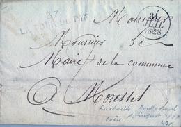 1828 , FRANCIA , LA TOUR DU PIN - MORESTEL , MARCA LINEAL , FECHADOR , ENVUELTA CIRCULADA - Poststempel (Briefe)