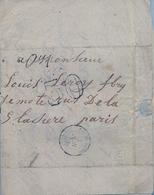 "1860 , FRANCIA , SEINE PORT - PARIS , CARTA CIRCULADA , FECHADOR "" AUXERRE A PARIS "" LLEGADA - Marcofilia (sobres)"