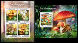 CENTRAL AFRICA 2018 - Mushrooms - Mi 7847-50 + B1769; CV=30 € - Champignons