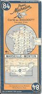 CARTE-ROUTIERE-MICHELIN-N °84-1945-MARSEILLE-MENTON - Avec Zone Non Déminée-Pas Déchirée-Tres RARE - Cartes Routières