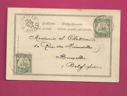 Carte Postale De 1902 Pour La Belgique - Maury N° 21 X2 - Colony: Cameroun