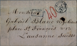 1864 FRANCIA , CARTA CIRCULADA , LE PUY - EN - VELAY / LAUSANNE , PORTEO , TRÁNSITOS , LLEGADA - Marcofilia (sobres)