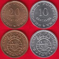 Sao Tome And Principe Set Of 2 Coins: 10 - 20 Centavos 1971 UNC - Sao Tome Et Principe
