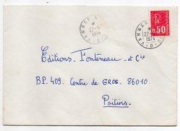 """1974--Lettre Pour Poitiers-86--cachet Rond Ambulant """" Vannes à Paris--D  """"--type Marianne Béquet - Marcophilie (Lettres)"""