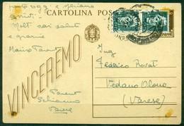 """V9432 ITALIA RSI 1944 Cartolina Postale 30 C.""""Vinceremo"""", Con Effigie Del Re Ricoperta Da Coppia 15 C.Imperiale, Annullo - 4. 1944-45 Repubblica Sociale"""