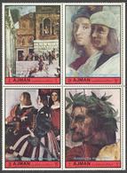 UAE1972. Ajman. 4 Stamps In The Block. Michel#2212, 2213, 2216, 2217. MNH** Raffaello's Frescos. - Ajman