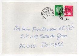 """1974-Lettre Pour Poitiers-86-cachet Rond Ambulant """"Nîmes à Clermont-E""""-  Type Marianne Cheffer+Béquet - Marcophilie (Lettres)"""