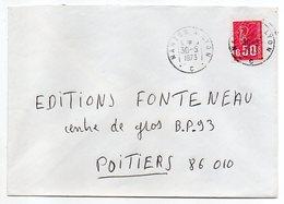 """1973-Lettre Pour Poitiers-86-cachet Rond Ambulant """"Nantes à Lyon-C """"-  Type Marianne Béquet - Marcophilie (Lettres)"""