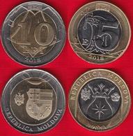 Moldova Set Of 2 Coins: 5 - 10 Lei 2018 BiMetallic UNC - Moldova