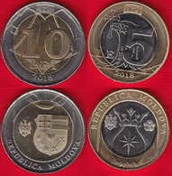 Moldova Set Of 2 Coins: 5 - 10 Lei 2018 BiMetallic UNC - Moldavie