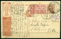 V7963 ITALIA REGNO 1924 Cartolina Postale Propaganda 30 C. Noi Sopravvissuti..., + Espresso 60 C., Fil. R6, Interitalia - 1900-44 Vittorio Emanuele III