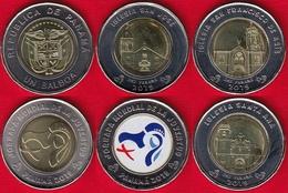 """Panama Set Of 5 Coins: 1 Balboa 2019 """"World Youth Day"""" UNC - Panama"""