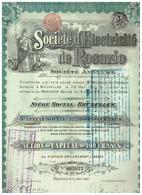 Action Ancienne Société D'Electricité De ROSARIO Action De Capital - Titre De 1910 Rare - Electricité & Gaz