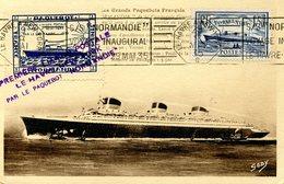 Carte Postale Commémorative : 1ère Liaison Postale Le Havre New York Paquebot Le Normandie 29/05/1935 - Frankrijk