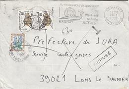"""LSC 1982- Lettre Taxée Avec YT 107 & YT 99 - Griffe Refusé - Cachet Et Flamme MARNEY (Hte Saone) """" Au Rdv De L'escargot"""" - Taxes"""