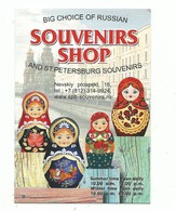 Carte De Visite Souvenirs Shop Saint Petersburg With Underground Railway Map Recto Poupées Russes - Cartes De Visite