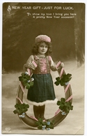 A NEW YEAR GIFT - JUST FOR LUCK (PRETTY GIRL WITH HORSESHOE AND FOUR LEAF CLOVER) - Anno Nuovo
