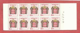 MONACO , Carnet  N° 2 , Armoiries Stylisées , Carnet De 20 Frs , 10 Timbres De 2,00 Frs , 1988 , NEUF ** - Booklets